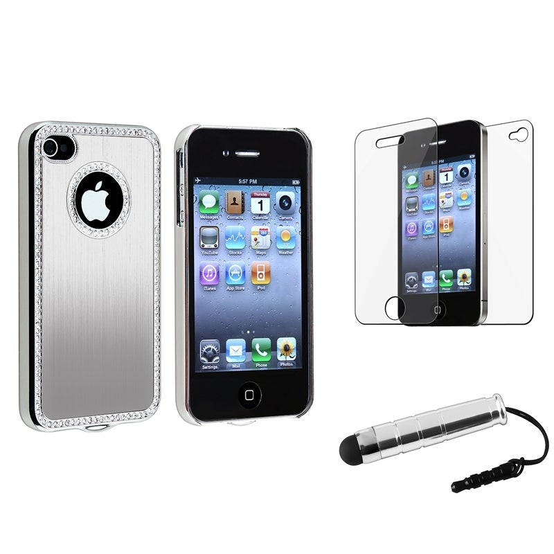 Silver Bling Case/ Mini Stylus/ Protector for Apple iPhone 4/ 4S