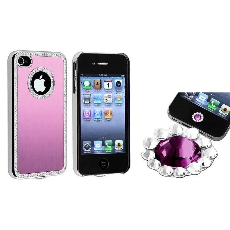 Light Pink Bling Case/ Purple Diamond Sticker for Apple iPhone 4/ 4S