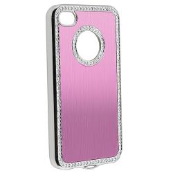 Light Pink Bling Case/ Purple Diamond Sticker for Apple iPhone 4/ 4S