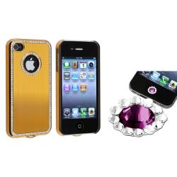 Gold Bling Case/ Purple Diamond Sticker for Apple iPhone 4/ 4S