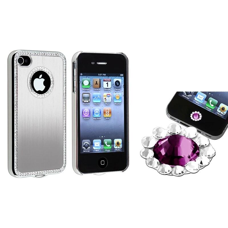 Silver Bling Case/ Purple Diamond Sticker for Apple iPhone 4/ 4S