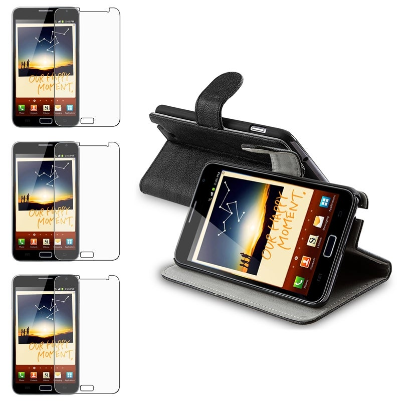 Black Leather Case/ LCD Protector for Samsung Galaxy Note N7000
