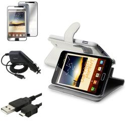 Leather Case/LCD Protector/Car Charger/Cable for Samsung Galaxy Note N7000