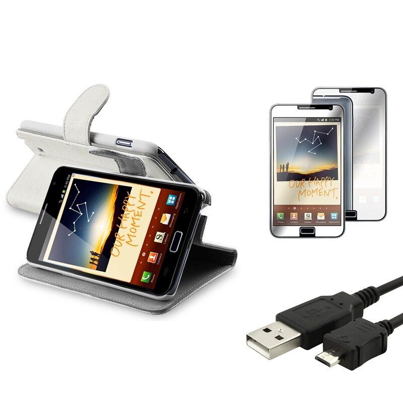 White Leather Case/Screen Protector/USB Cable Bundle for Samsung Galaxy Note N7000