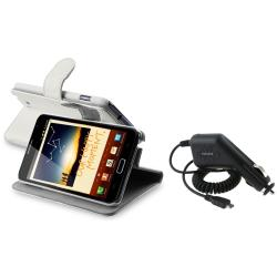 White Leather Case/ Car Charger for Samsung Galaxy Note N7000