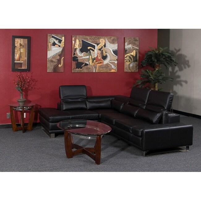 Black Bonded Leather Sectional Sofa Set