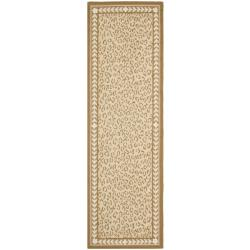 Hand-hooked Chelsea Leopard Ivory Wool Rug (2'6 x 12')