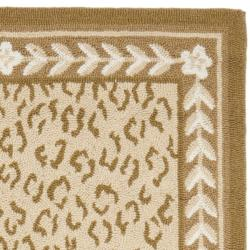 Hand-hooked Chelsea Leopard Ivory Wool Rug (2'6 x 6')
