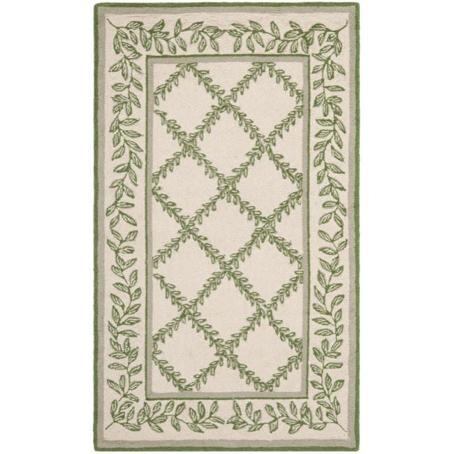 Safavieh Hand-hooked Trellis Ivory/ Light Green Wool Rug (2'6 x 4')