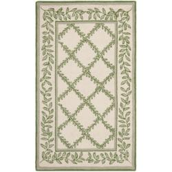 Hand-hooked Trellis Ivory/ Light Green Wool Rug (2'6 x 4')