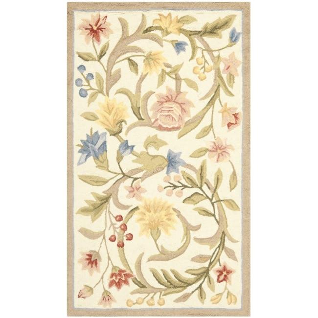 Safavieh Hand-hooked Garden Scrolls Ivory Wool Rug (3'9 x 5'9)