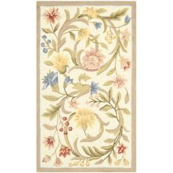 Hand-hooked Garden Scrolls Ivory Wool Rug (3'9 x 5'9)