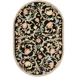 Hand-hooked Garden Scrolls Black Wool Rug (4'6 x 6'6 Oval)