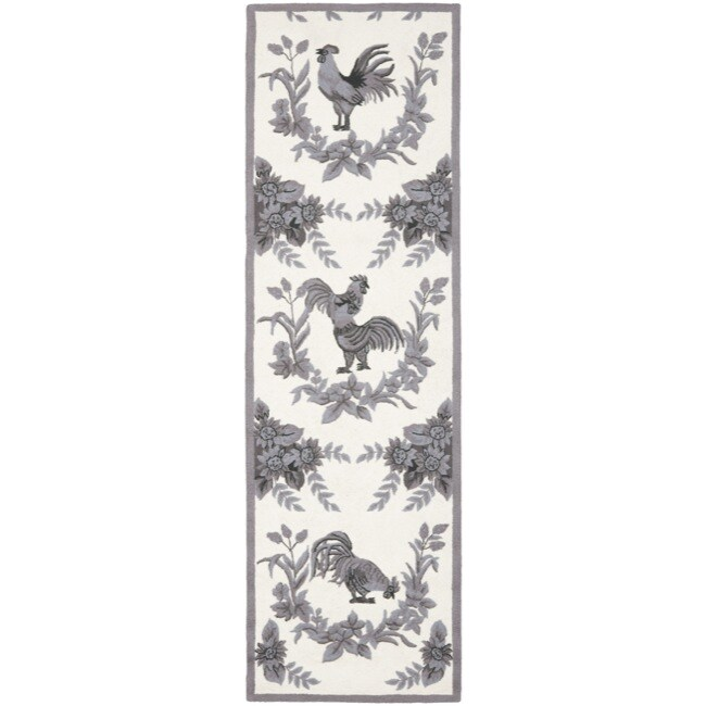 Safavieh Hand-hooked Hens Grey Wool Rug (2'6 x 8')