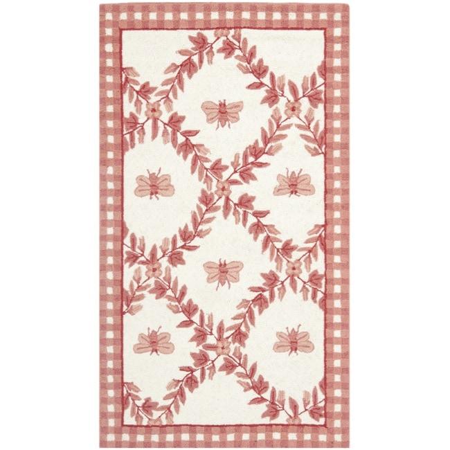 Safavieh Hand-hooked Bumblebee Ivory/ Rose Wool Rug (2'9 x 4'9)