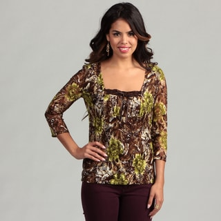 Women's Brown Floral Semi Sheer 3/4-sleeve Top