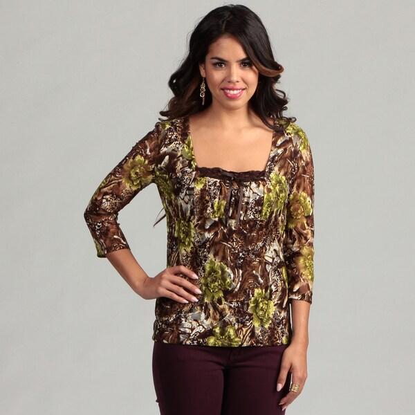 Women's Brown Floral Semi Sheer 3/4-sleeve Top