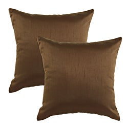 Shantung Walnut S-backed 17x17 Fiber Pillows (Set of 2)