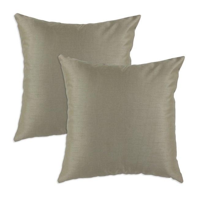 Shantung Taupe S-backed 17x17 Fiber Pillows (Set of 2)