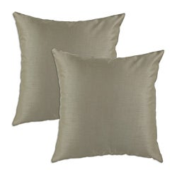 Shantung Taupe S-backed 17x17 Fiber Pillows (Set of 2)