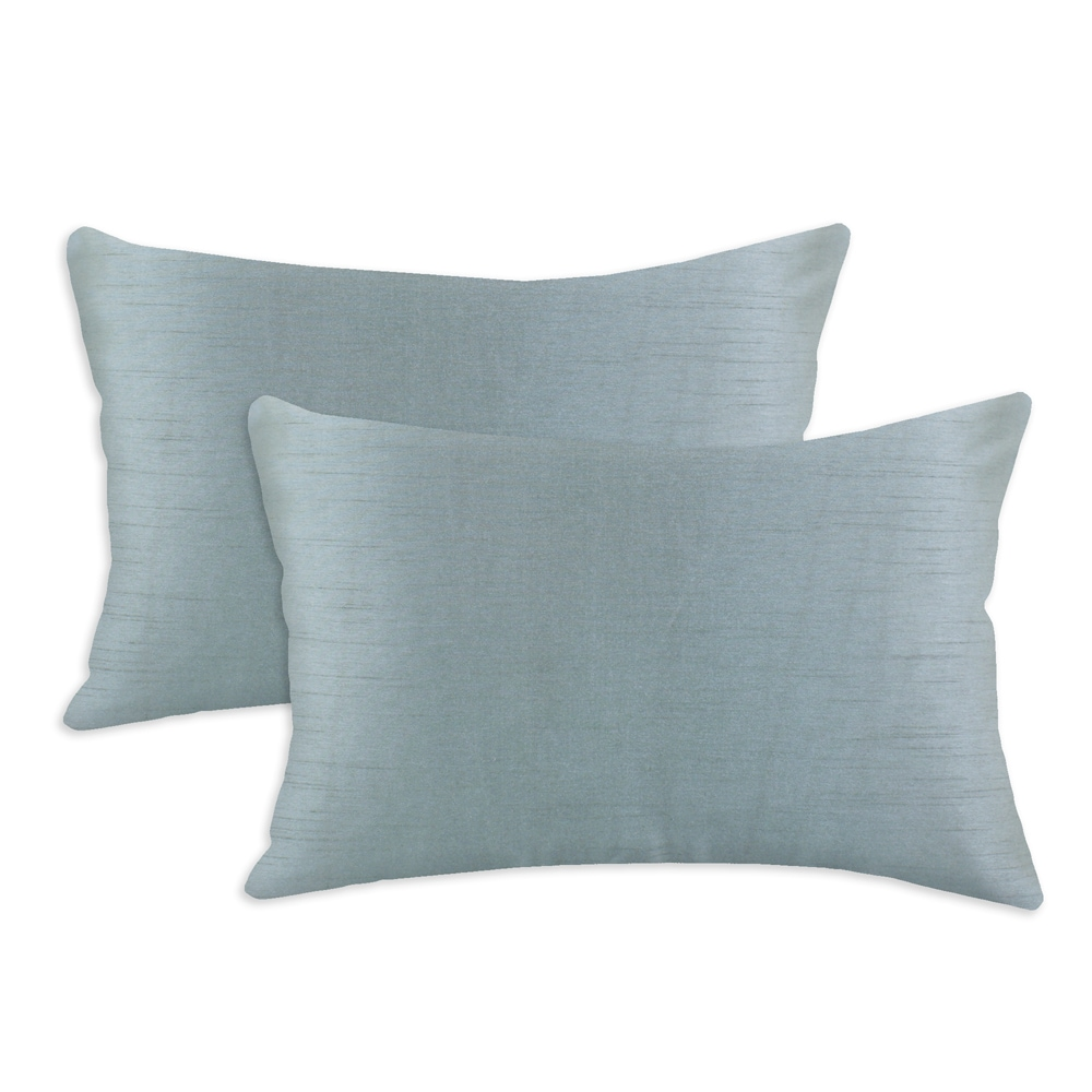 Shantung Ice Blue S-backed 12.5x19 Fiber Pillows (Set of 2)