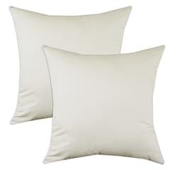 Saxony Natural Beige S-backed 17x17 Fiber Pillows (Set of 2)