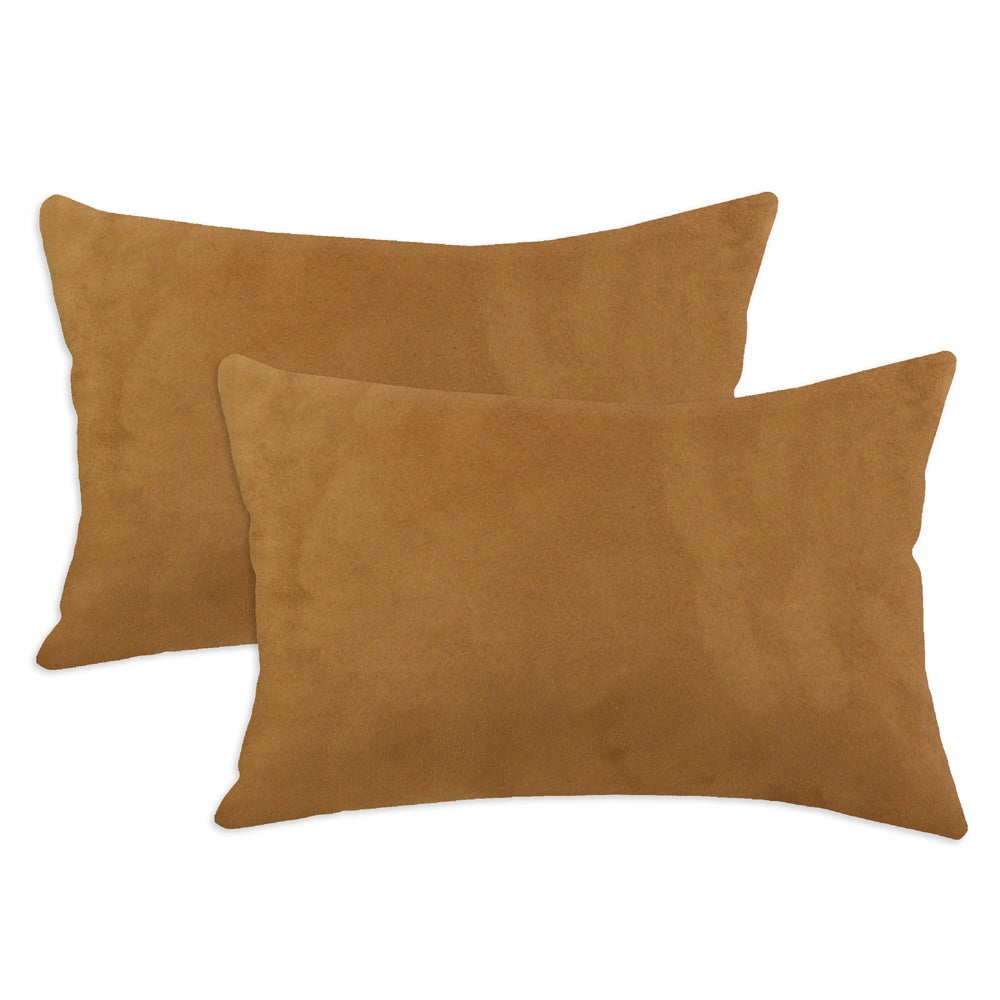 Passion Suede Rust Simply Soft S-backed 12.5x19 Fiber Pillows (Set of 2)