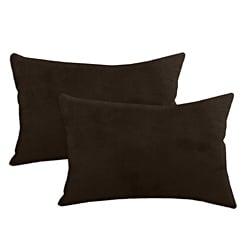 Passion Suede Espresso Simply Soft S-backed 12.5x19 Fiber Pillows (Set of 2)