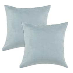 Passion Suede Cloud Blue Simply Soft S-backed 17x17 Fiber Pillows (Set of 2)