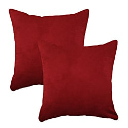 Passion Suede Cinnabar Simply Soft S-backed 17x17 Fiber Pillows (Set of 2)