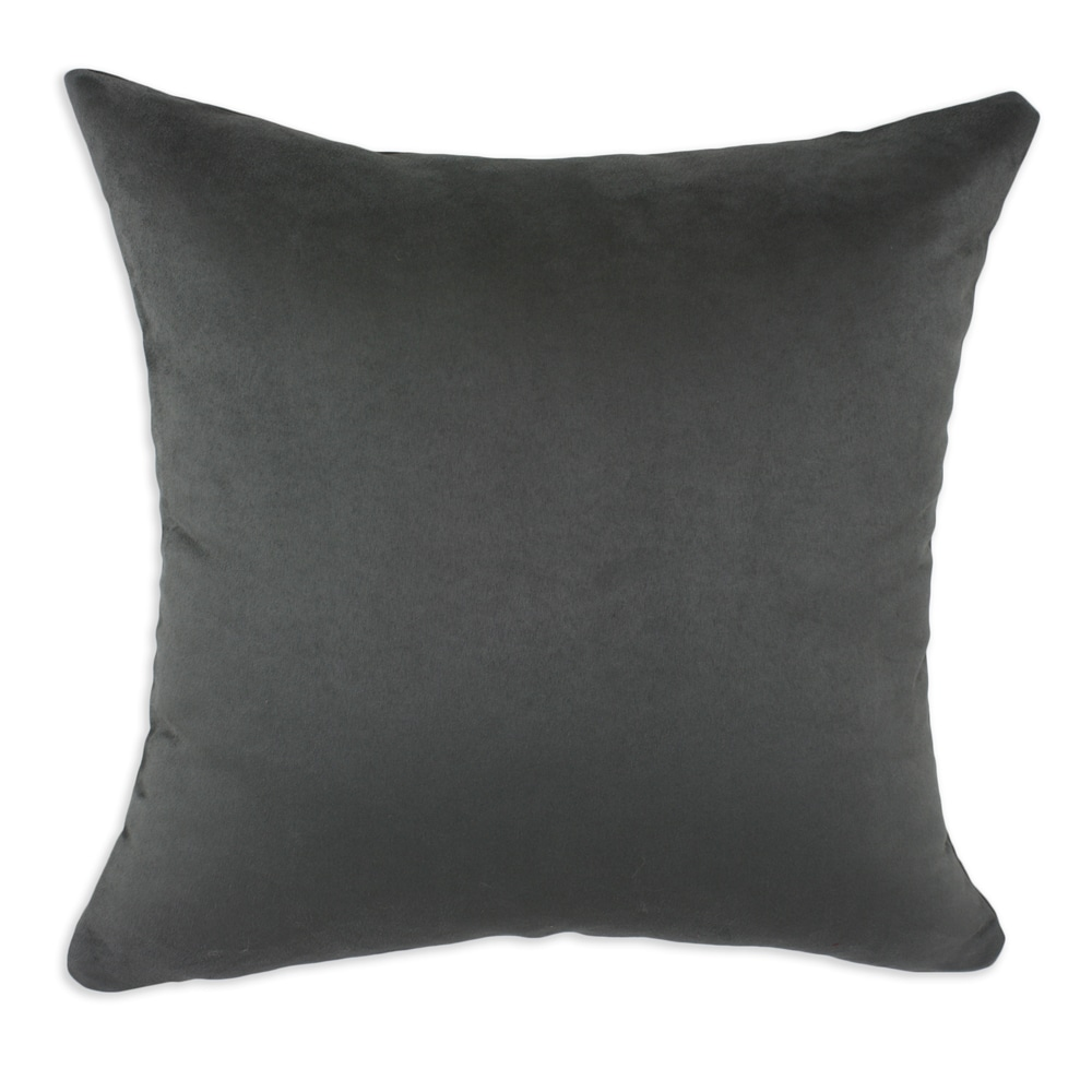 Passion Suede Charcoal Simply Soft S-backed 17x17 Fiber Pillows (Set of 2)