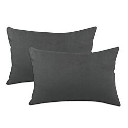 Passion Suede Charcoal Simply Soft S-backed 12.5x19 Fiber Pillows (Set of 2)