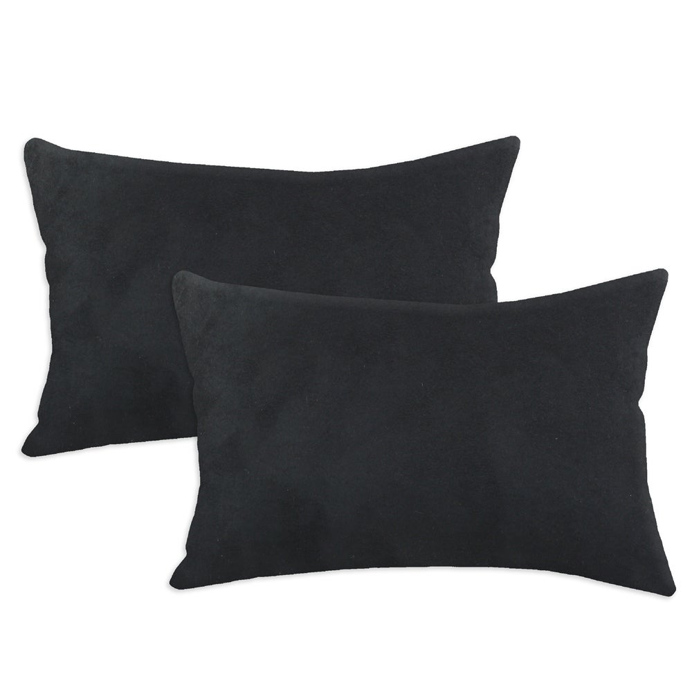 Passion Suede Black Simply Soft S-backed 12.5x19 Fiber Pillows (Set of 2)