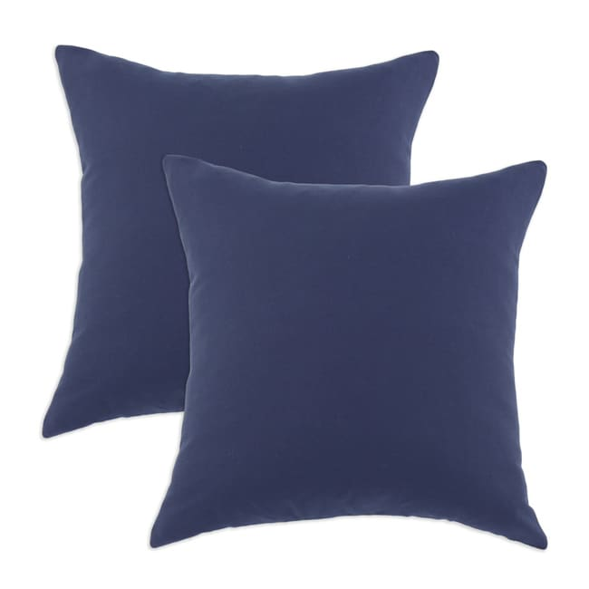 Duck Navy S-backed 17x17-inch Fiber Pillows (Set of 2)