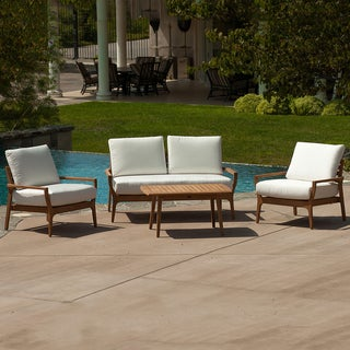 Christopher Knight Home Lombardi Teak Wood 4-piece Outdoor Seating Set