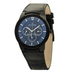 Skagen Men's Blue Dial Crocodile Embossed Black Leather Strap Watch