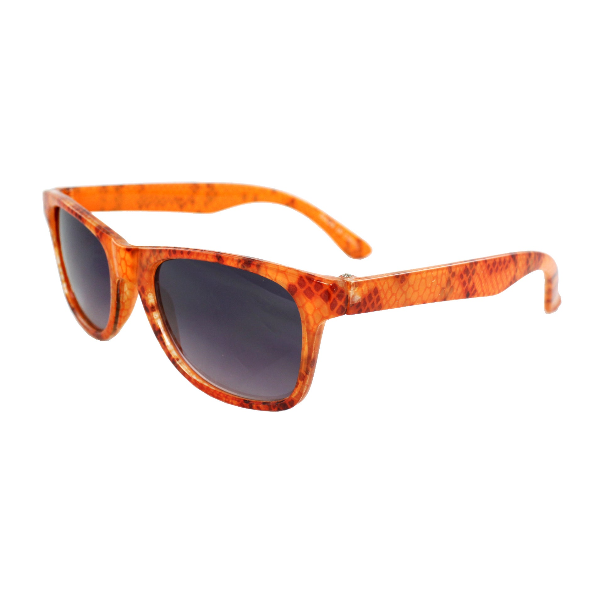 Kid's K3115-ORPB Oval Orange Frame Sunglasses with Black Shatter Design