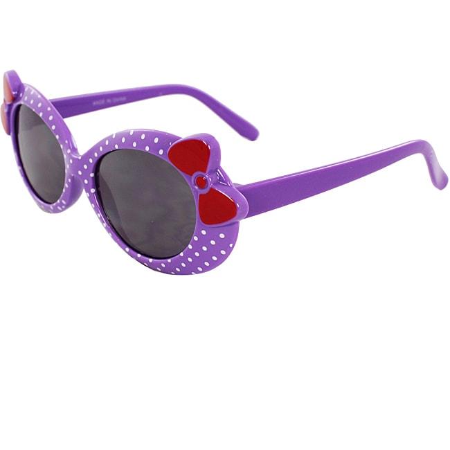 Kid's Oval K0208-PLSM Sunglasses Purple Frame Bow Tie Design