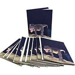 Pack of 10 Blue Recycled Elephant Waste Paper Tyrannosaurus Rex Greeting Cards (Sri Lanka)