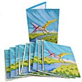 Pack of 10 Recycled Elephant Waste Paper Pterodactyl Greeting Cards (Sri Lanka)