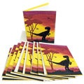 Pack of 10 Recycled Elephant Waste Paper Yellow Tyrannosaurus Rex Greeting Cards (Sri Lanka)