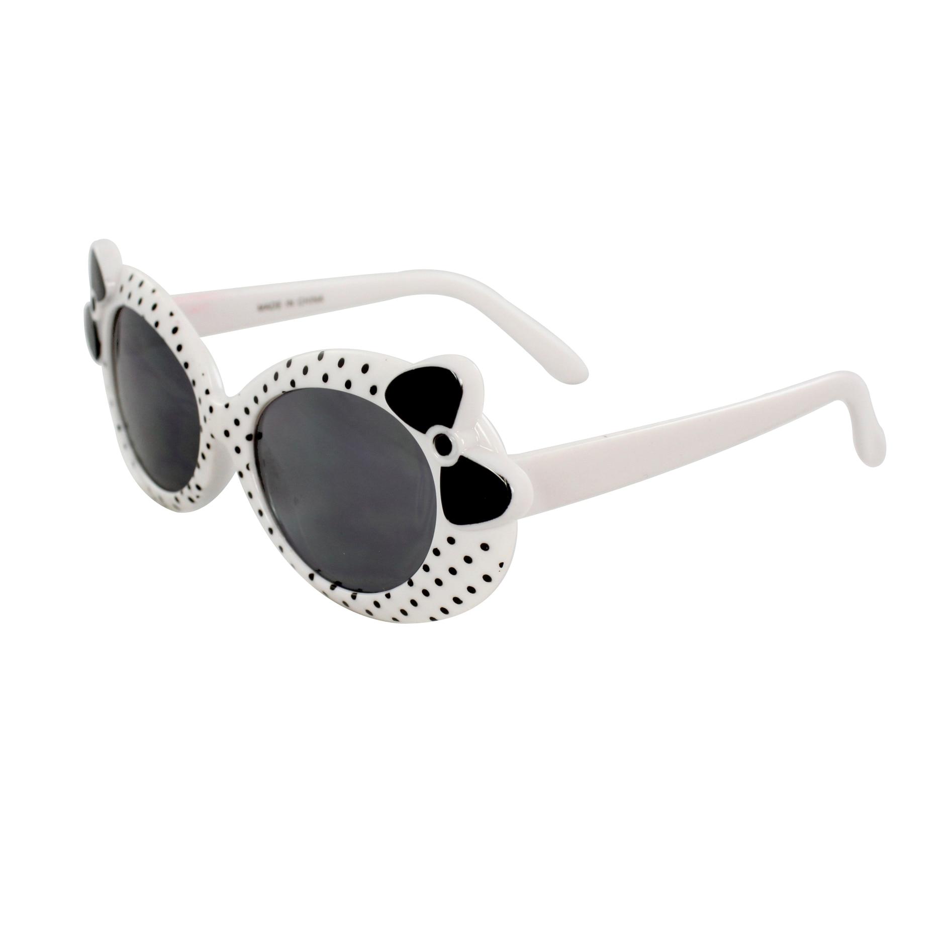 Kid's K0208-WHTSM Oval Polka Dot Fashion Sunglasses
