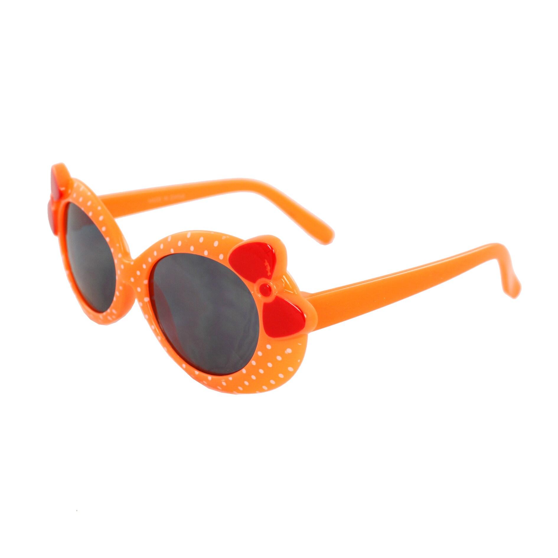 Kid's K0208-ORSM Oval Fashion Pink Frame Polka Dot Sunglasses