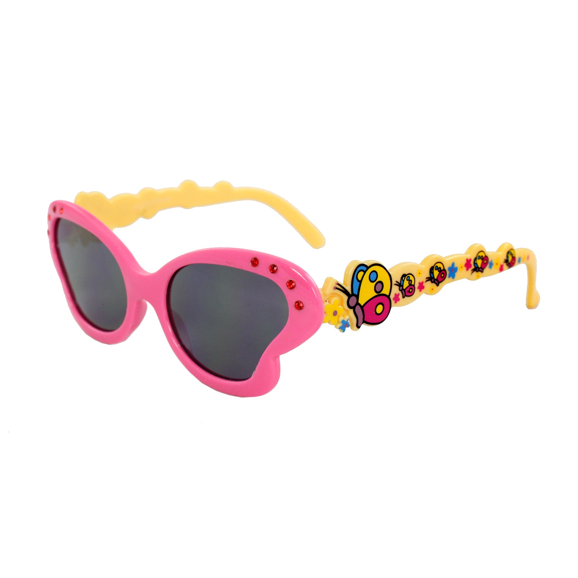 Kid's K0191-YWPKSM Pink and Yellow Butterfly Fashion Sunglasses