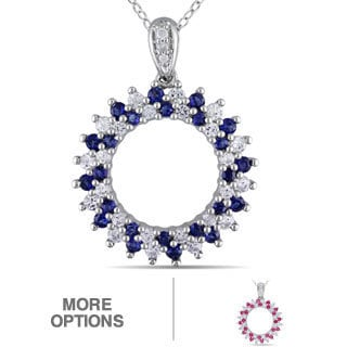 Miadora Sterling Silver Created Sapphire and Diamond Accent Necklace (H-I, I2-I3)