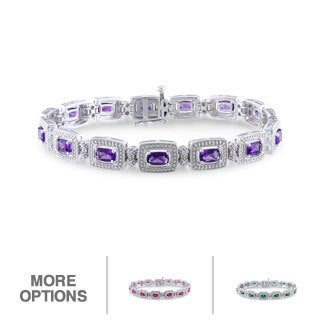 Miadora Sterling Silver Gemstone and 1/10ct TDW Diamond Bracelet (H-I, I2-I3)