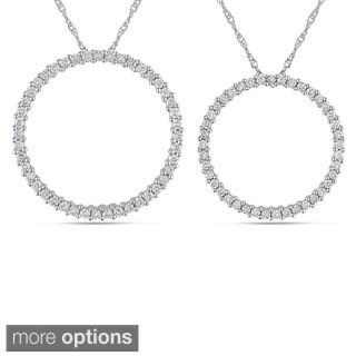Miadora 14k White Gold 1/2ct or 3/4ct TDW Diamond Circle Necklace (G-H, I1)