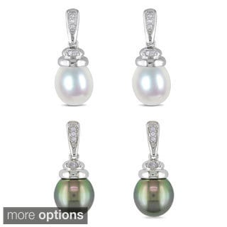 Miadora Sterling Silver Pearl and Diamond Accent Earrings (H-I, I2-I3)