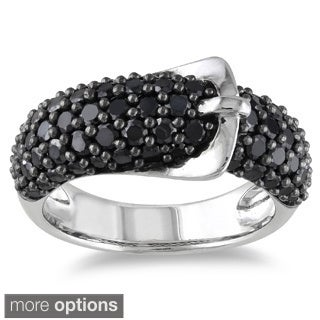 Miadora Sterling Silver Black or White Gemstone Buckle Ring