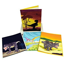 Pack of 4 Assorted Recycled Elephant Waste Paper Dinosaur Greeting Cards (Sri Lanka)